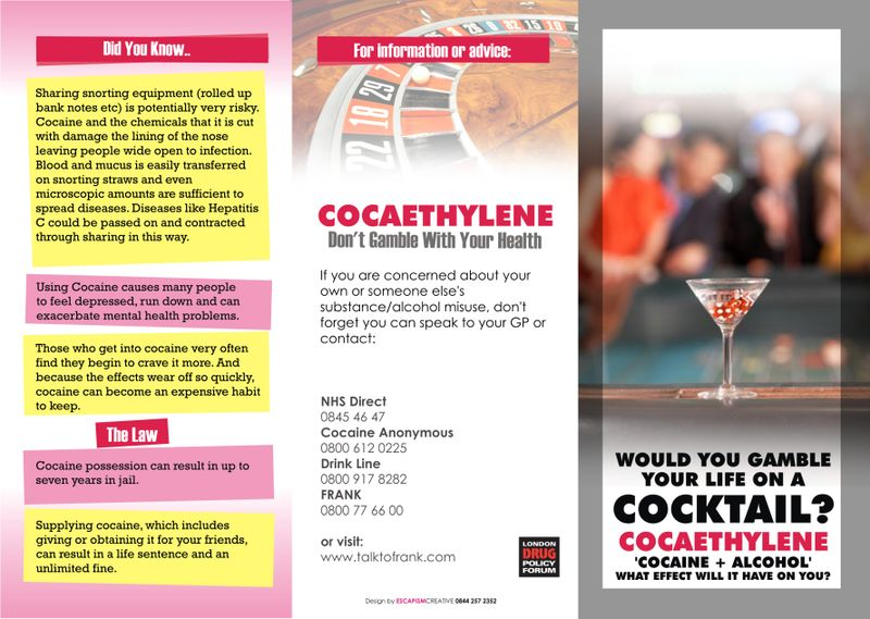 Southwark Cocaethylene Campaign Poster And Leaflet  Alcohol Policy Uk