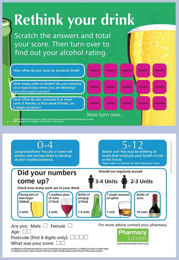 London Pharmacy IBA Scratch Card project - Alcohol Policy UK